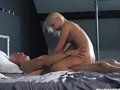 Grandfather Wants To Wank But Step-niece Comes And Fucks Him