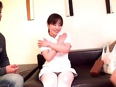 Nice Tits Japanese Nurse Stripped And Fucked On The Sofa. Hd