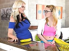 Blonde Alena Croft With Gigantic Bosoms And Trimmed Snatch Is Totally Naked And Plays With Her Beaver Non Stop
