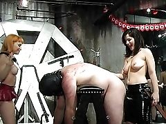 Hot Mistresses Spanking Bonded Fellow