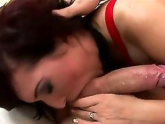 Salami Greedy Lusty Brown-haired Whore Lea Magic With Big Mouth-watering Hooter And Strenuous Make Up In Fishnet Half-shirt Gives Head To Her Horny Pa
