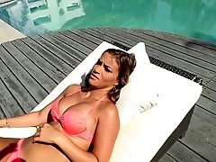 Pink Swimsuit Honey With Big Titties Fucks Him In The Douche