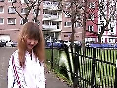 Tempting Brown-haired Nubile Adrianne B With Taut Figure Gets Filmed By Filthy Dude Outdoor In Close Up