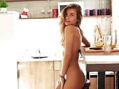 After Drinking A Glass Of Water Naked Honey Flashes Her Alluring Shaven Cooch