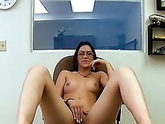 The Attractive Kandi Milan Was Bored At The Work And She Masturbates Her Vagina With A Pleasure