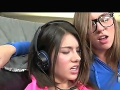 Breezy Gamer Gal Lesbos Playing Playstation