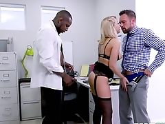 Intercourse-starved Blonde Zoey Monroe Tempts Her Chief And His Black Biz Counterpart