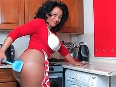 Horny Matures Spreads Her Gams To Have Fun In The Kitchen. Hd Movie