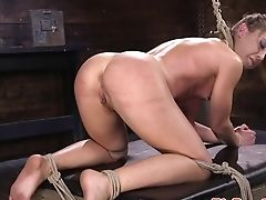 Sadism & Masochism Sub Spreadeagled Whipped And Toyed