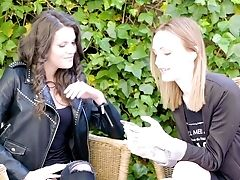 Belle Claire And Verona Sky In Addictive Pink Cigar Sharing Outdoor Fuck