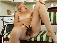Matures Housewife Diana Gold Examines Her Hairy Beaver With Thumbs