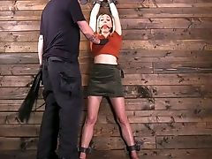 Tied Up Ash-blonde Actress Lily Labeau Is Spanked And Fucked With Wand