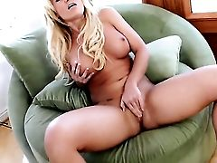 Angela Sommers With Gigantic Jugs And Bald Coochie Does Striptease Before Playing With Her Love Crevice