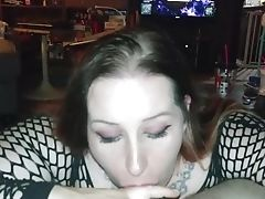 'horny Wifey In Fishnets Won't Stop Sucking Hubby's Big Pink Cigar - Blow-job Point Of View '