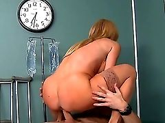 Wonderful Blonde Nurse Has Big Tits And Her Patient Johnny Sins Determines To Fuck This Curve. Amber Lynn Agreed And Got The Gigantic  Dick To Her Coc