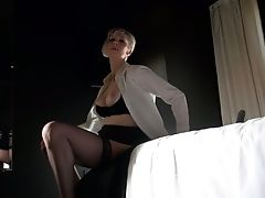 Dude In Spandex Stuff Fucks Smoothly-shaven Cootchie Of His Lusty Huge-chested Wifey