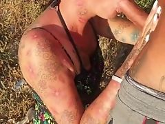 German Skinny Tattoo Mummy At Outdoor Facial Cumshot Point Of View
