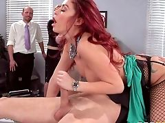 Red-haired Tramp Monique Alexander Senses No Shame! She Takes Man Meat