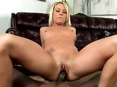 Platinum-blonde Haired Bitch Called Brittany Angel Gonna Be Pounded Rear End By Black Stud