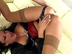 Smashing Blow-job By Horny Brown-haired Super-bitch