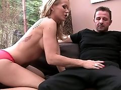 Blonde Haired Cougar Simone Sonay With Hot Hooters Pulls Her